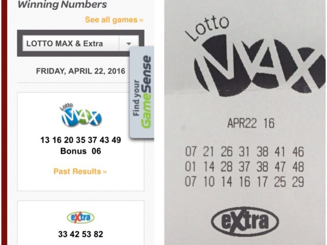 Lotto Max Fri April 22nd